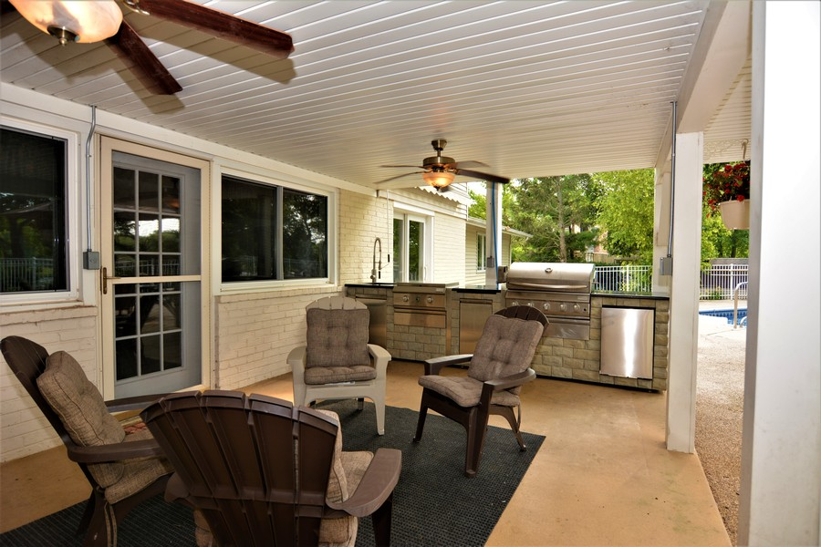 Real Estate Photography - 28812 W. Park Drive, Barrington, IL, 60010 - Outdoor kitchen at covered patio view