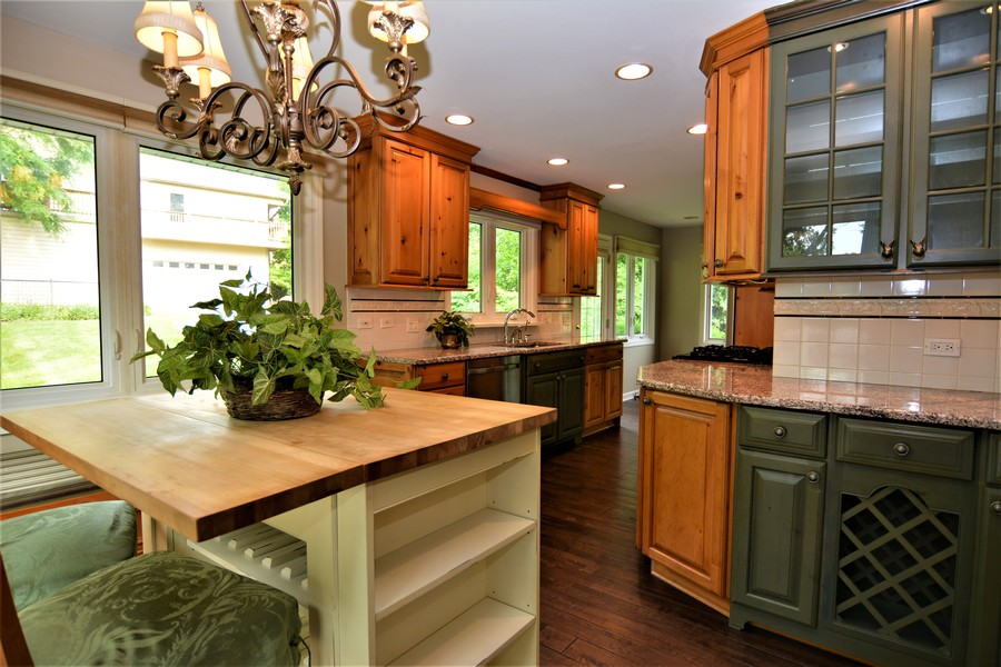Real Estate Photography - 28812 W. Park Drive, Barrington, IL, 60010 - Kitchen  view. Note butcher block topped island is