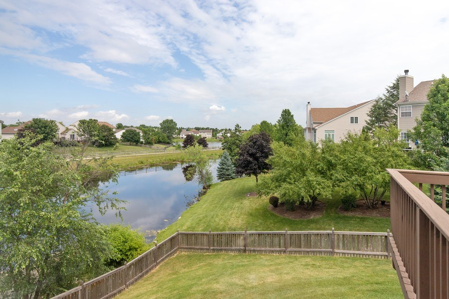 Real Estate Photography - 33 Bridlepath Drive, Lindenhurst, IL, 60046 - Fenced Back Yard with Beautiful View