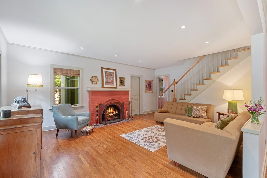 Real Estate Photography - 1927 Lincoln Street, Evanston, IL, 60201 - Living Room with Fireplace