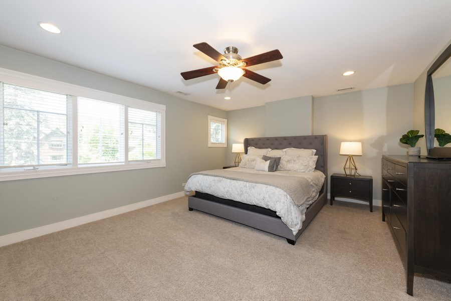 Real Estate Photography - 423 Taylor Avenue, Glen Ellyn, IL, 60137 - Luxurious master bedroom with ensuite bath