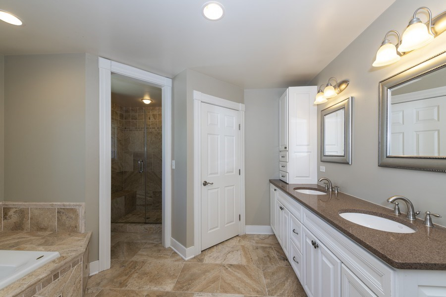 Real Estate Photography - 423 Taylor Avenue, Glen Ellyn, IL, 60137 - Master bath w double sink & great storage