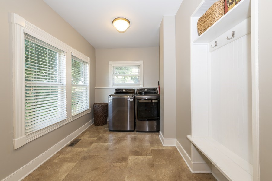 Real Estate Photography - 423 Taylor Avenue, Glen Ellyn, IL, 60137 - Laundry room/mudroom located just off back patio