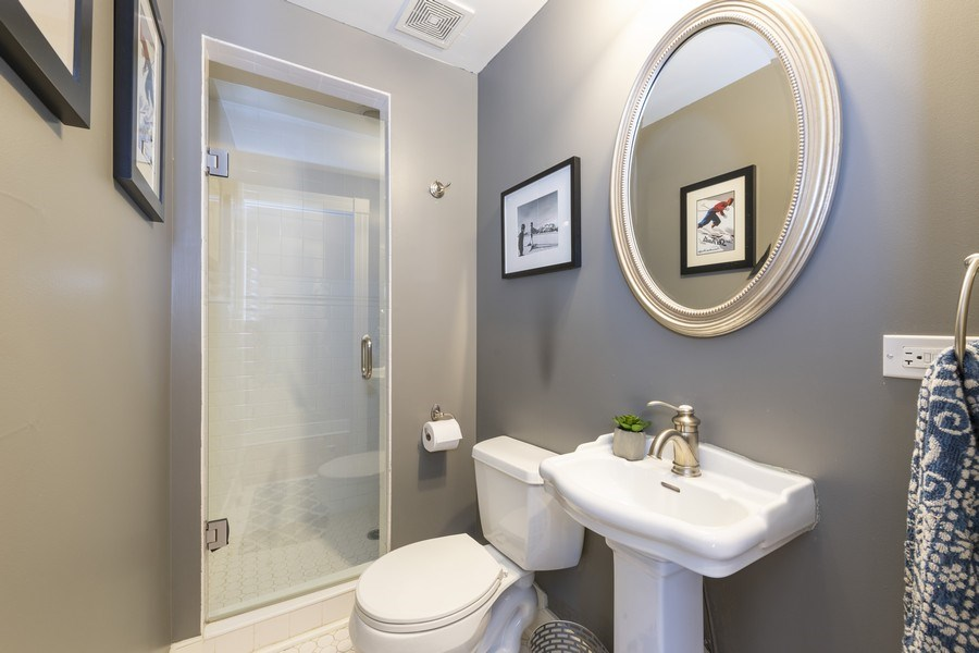 Real Estate Photography - 423 Taylor Avenue, Glen Ellyn, IL, 60137 - First floor bath features walk in shower