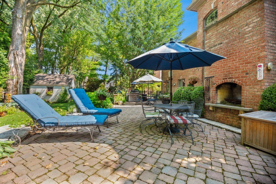Real Estate Photography - 618 N. Scottsvale Lane, Arlington Heights, IL, 60004 - Terrace with Fireplace