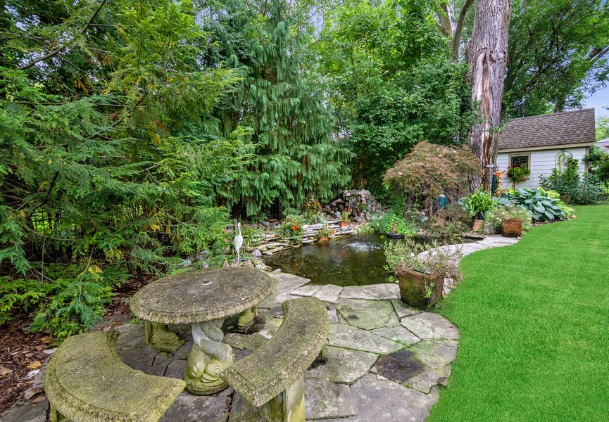 Real Estate Photography - 618 N. Scottsvale Lane, Arlington Heights, IL, 60004 - Patio Overlooking Koi Pond