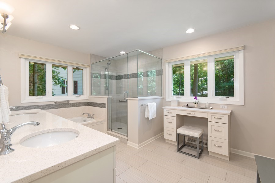 "Real Estate Photography - 941 Anne Road, Naperville, IL, 60540 - Luxurious ""spa like"" master bath"