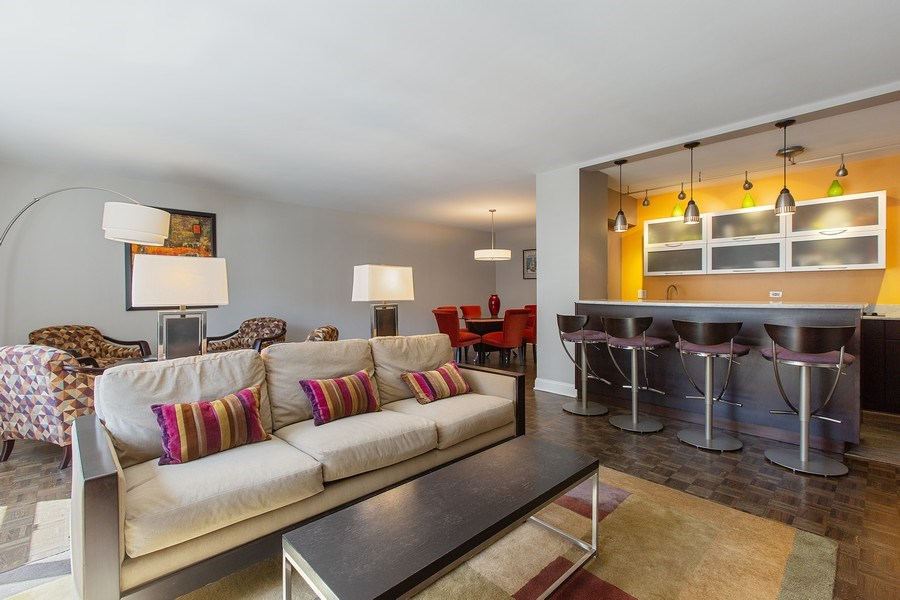 Real Estate Photography - 1325 North State Pkwy, 12E, Chicago, IL, 60610 - Kitchen / Living Room