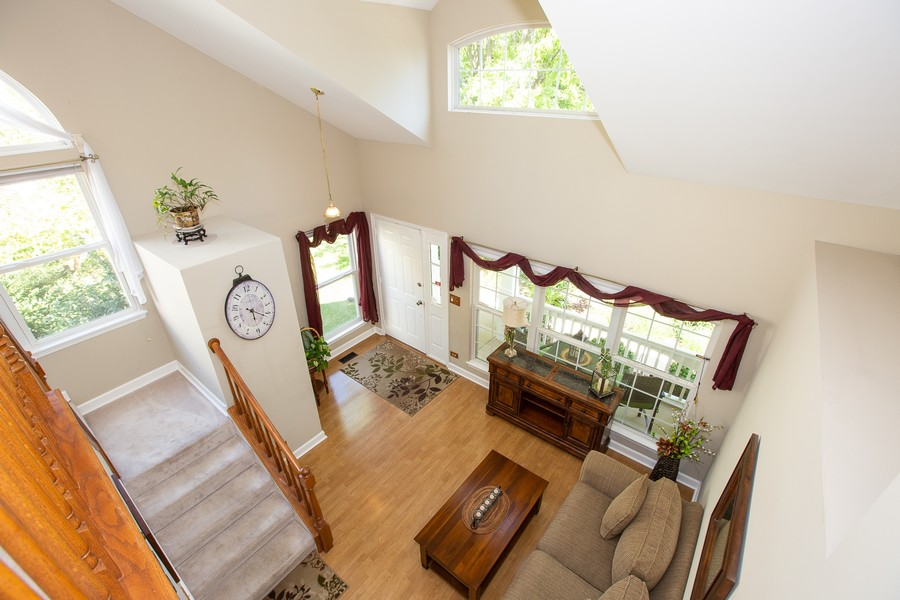 Real Estate Photography - 2135 Periwinkle Ln, Naperville, IL, 60540 - LIVING ROOM VIEW FROM 2ND FLOOR