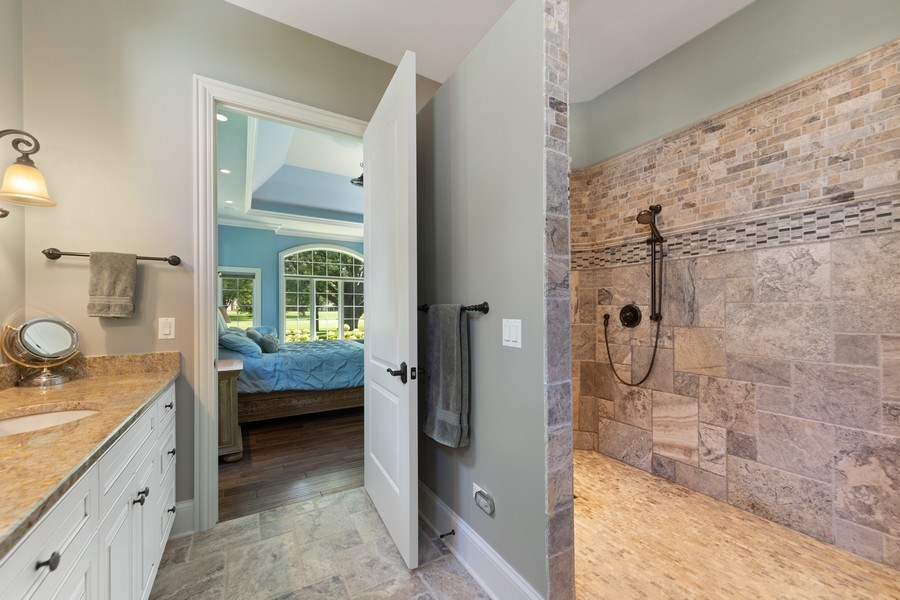 Real Estate Photography - 1108 Heatherton Dr, Naperville, IL, 60563 - Double shower with body spray system