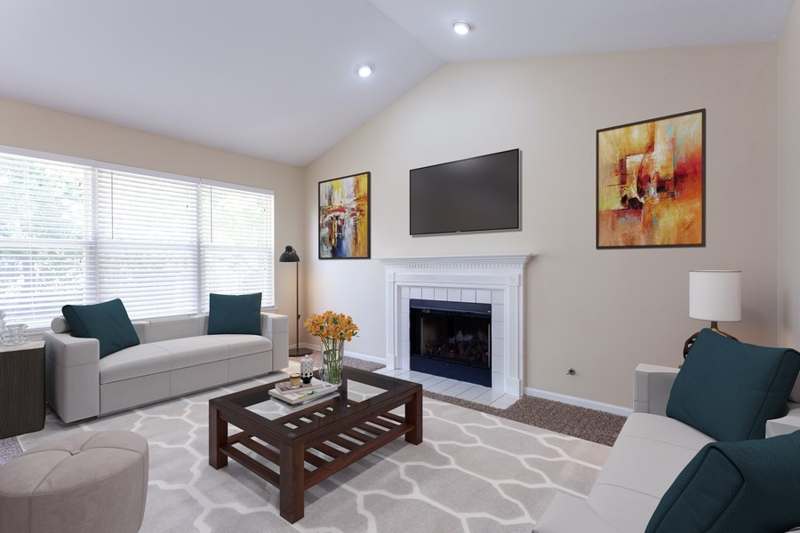 Real Estate Photography - 621 Spicebush Ln, Aurora, IL, 60504 - Family room staged