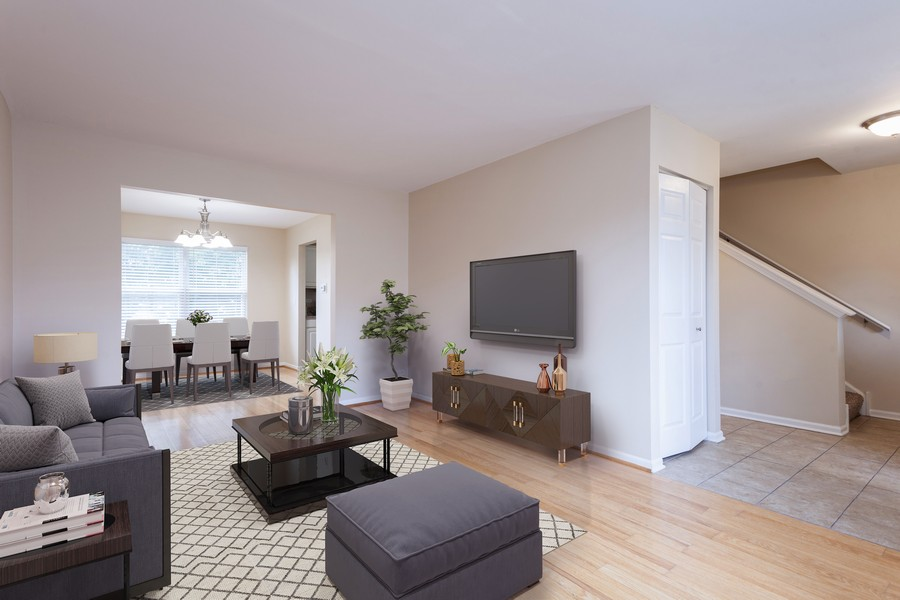 Real Estate Photography - 621 Spicebush Ln, Aurora, IL, 60504 - Living room staged