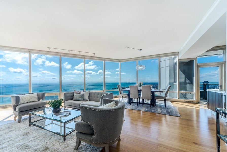Real Estate Photography - 340 E Randolph St, Unit 5401, Chicago, IL, 60601 - Living Room