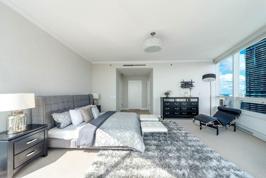 Real Estate Photography - 340 E Randolph St, Unit 5401, Chicago, IL, 60601 - Master Bedroom