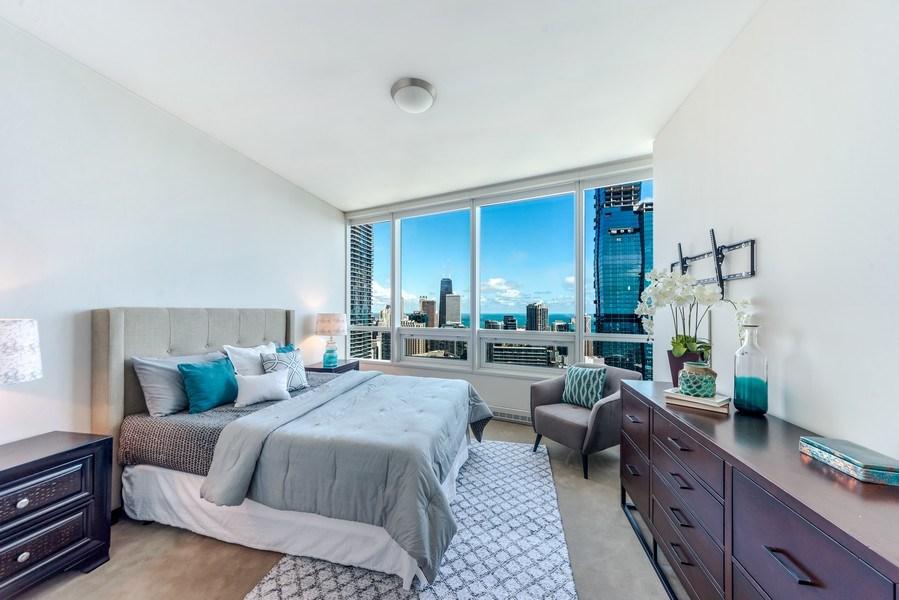 Real Estate Photography - 340 E Randolph St, Unit 5401, Chicago, IL, 60601 - Bedroom