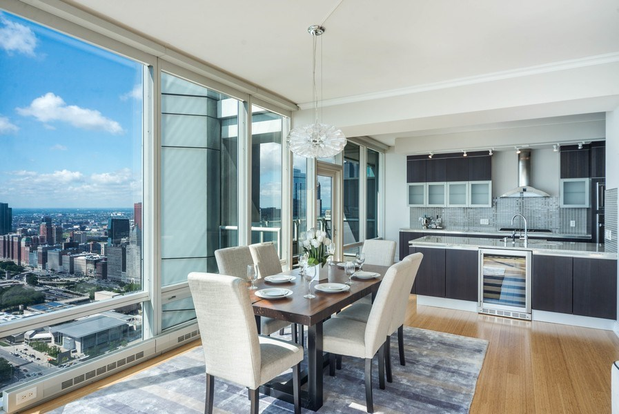 Real Estate Photography - 340 E Randolph St, Unit 5401, Chicago, IL, 60601 - Dining Room