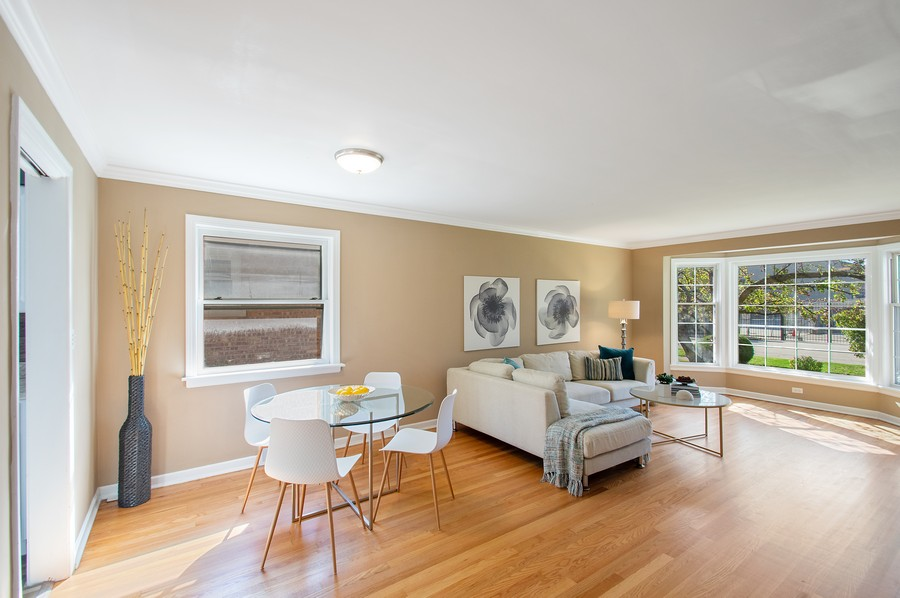 Real Estate Photography - 217 Hartrey Ave, Evanston, IL, 60202 - Living Room / Dining Room