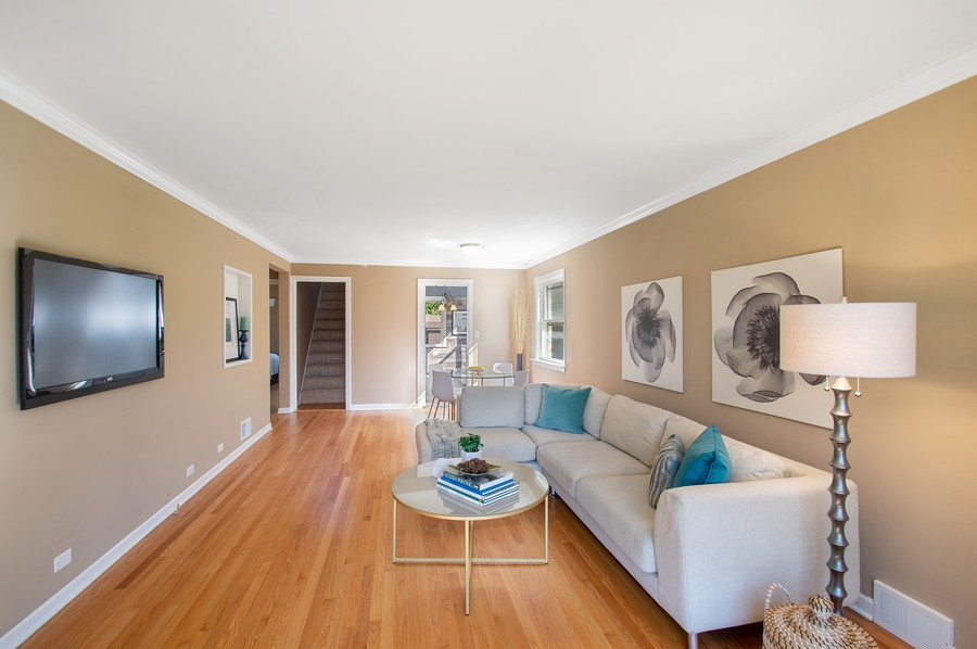 Real Estate Photography - 217 Hartrey Ave, Evanston, IL, 60202 - Living Room/Dining Room