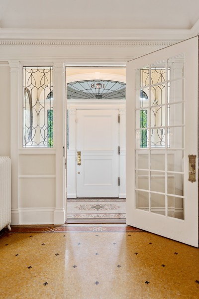 Real Estate Photography - 1128 Ridge Ave, Evanston, IL, 60202 - Entry Hall with Marble Mosaic Floor