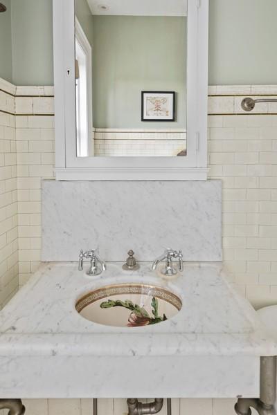 Real Estate Photography - 1128 Ridge Ave, Evanston, IL, 60202 - 3rd Floor Full Bath with Original Sink