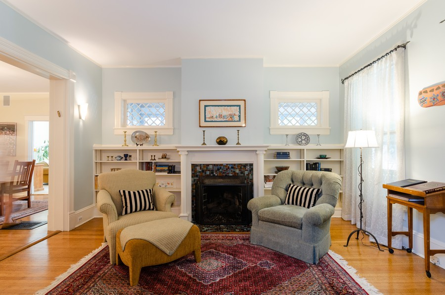 Real Estate Photography - 1027 Judson Ave, Evanston, IL, 60202 - Living Room/Study w/Wood Burning Fireplace