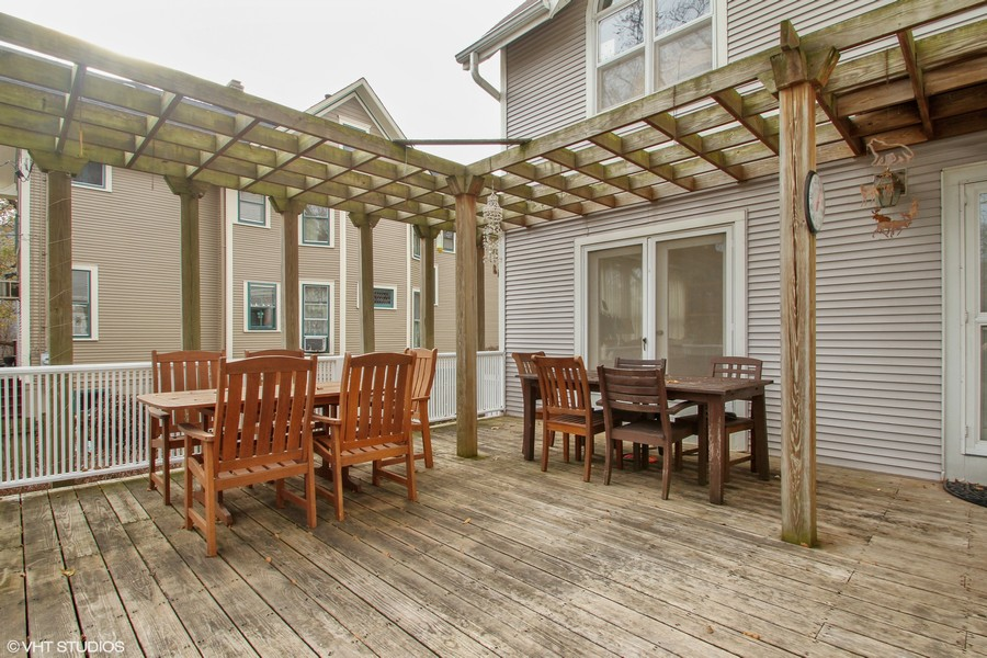 Real Estate Photography - 1027 Judson Ave, Evanston, IL, 60202 - Rear Deck and Pergola
