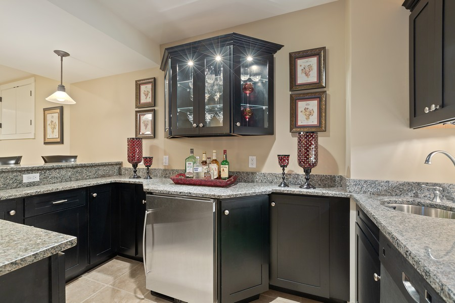 Real Estate Photography - 1347 Osage Orange Rd, Grayslake, IL, 60030 - Basement Full Service Bar