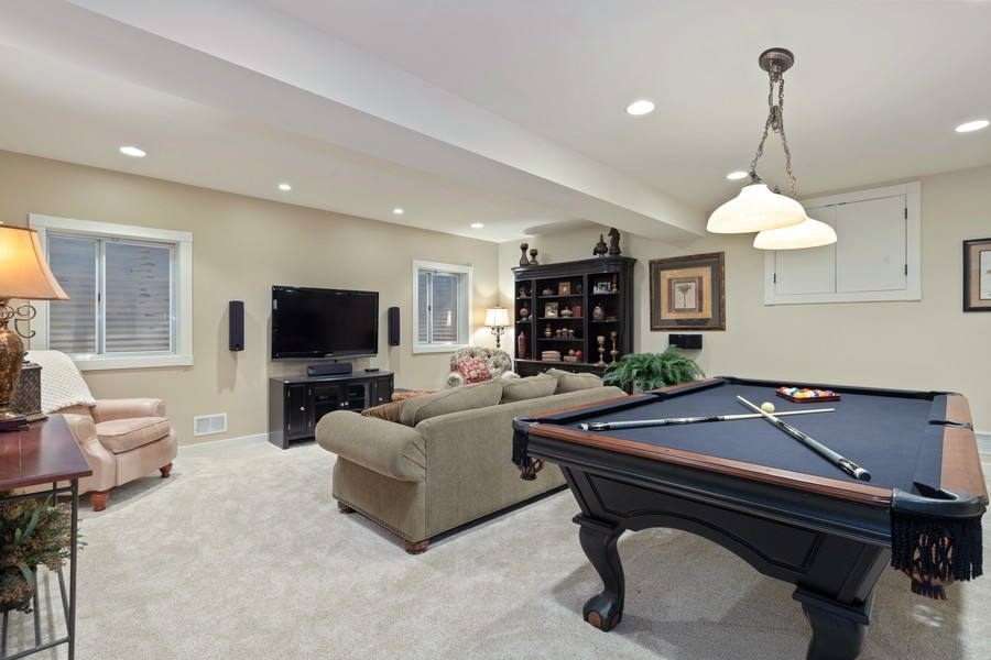 Real Estate Photography - 1347 Osage Orange Rd, Grayslake, IL, 60030 - Basement Rec Room. WOW!