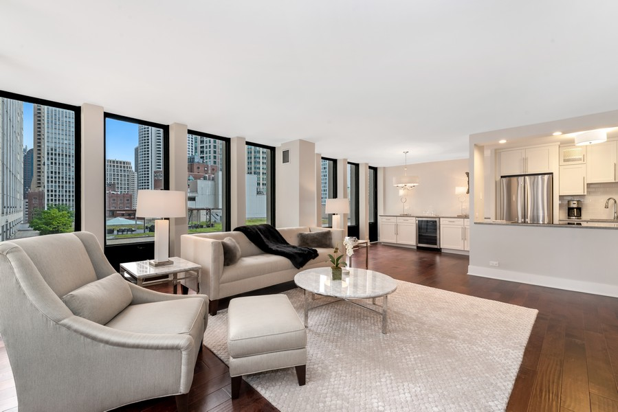 Real Estate Photography - 100 East Walton St, 21D, Chicago, IL, 60611 - Kitchen / Living Room