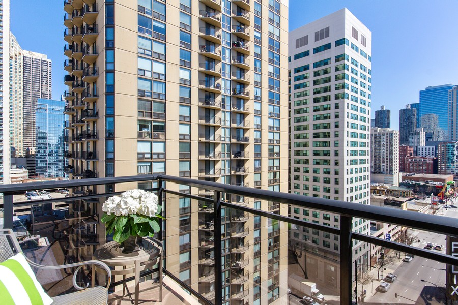Real Estate Photography - 101 W Superior St, Unit 1204, Chicago, IL, 60611 - Master Bedroom Private Terrace
