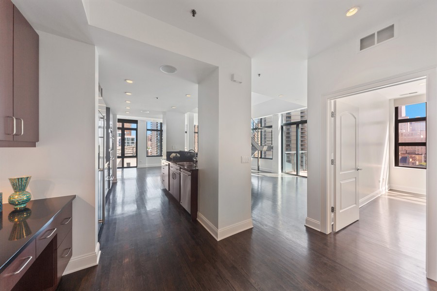 Real Estate Photography - 101 W Superior St, Unit 1204, Chicago, IL, 60611 - Family Room / Kitchen