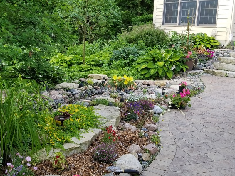 Real Estate Photography - 8N431 Sunny Hill Cir, Campton Hills, IL, 60124 - Garden and Stone Steps to Upper Patio