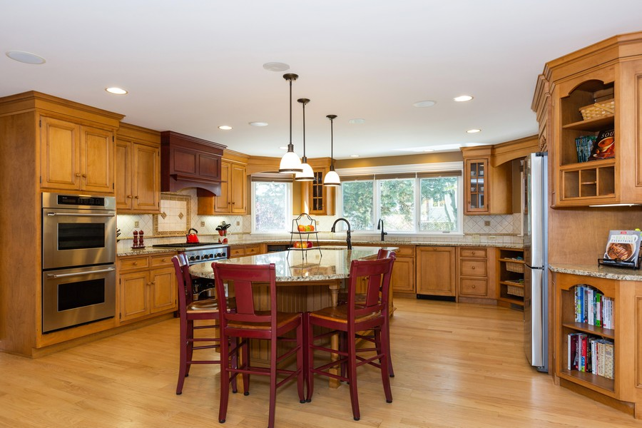 Real Estate Photography - 1015 Revere Ct, Naperville, IL, 60540 - Kitchen - Center Island w/Seating