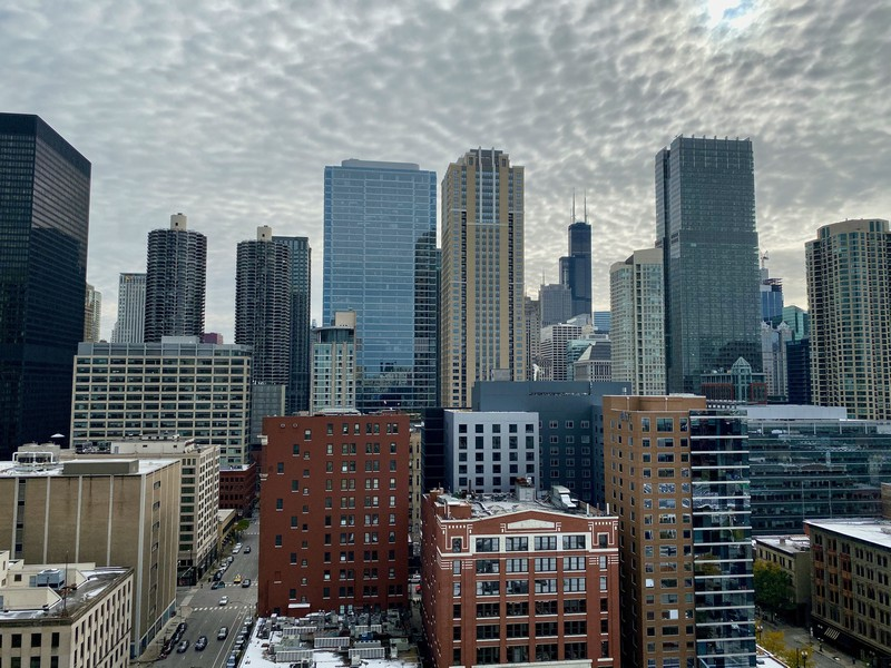 Real Estate Photography - 600 North Dearborn St, 1908, Chicago, IL, 60654 - View of the city from the balcony