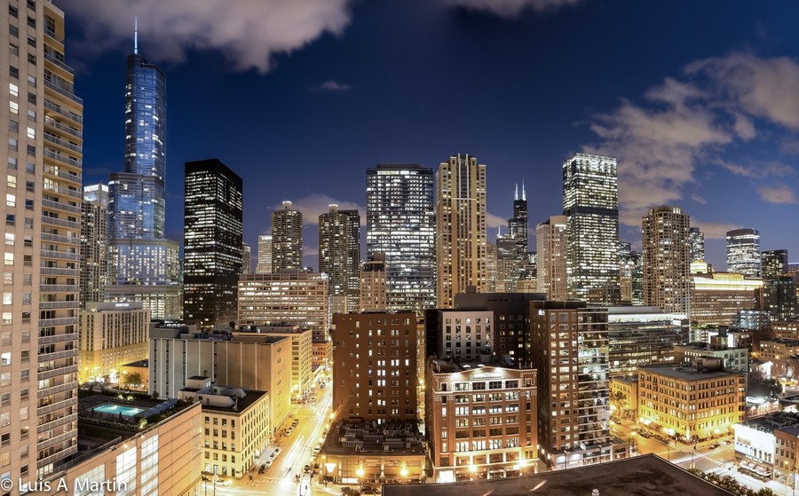 Real Estate Photography - 600 North Dearborn St, 1908, Chicago, IL, 60654 - Night city view from balcony