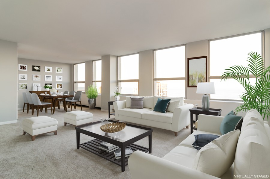 Real Estate Photography - 2626 North Lakeview Ave, 3803, Chicago, IL, 60614 - Living Room / Dining Room