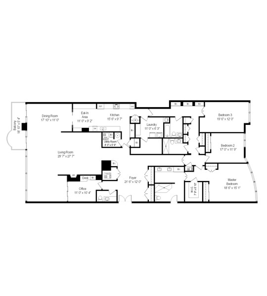 Real Estate Photography - 1420 Sheridan Rd, 7F, Wilmette, IL, 60091 - Floor Plan