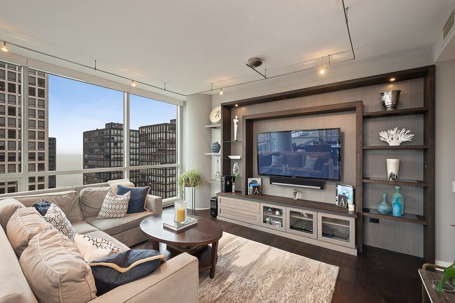 Real Estate Photography - 250 East Pearson St, 2302, Chicago, IL, 60611 - Living Room