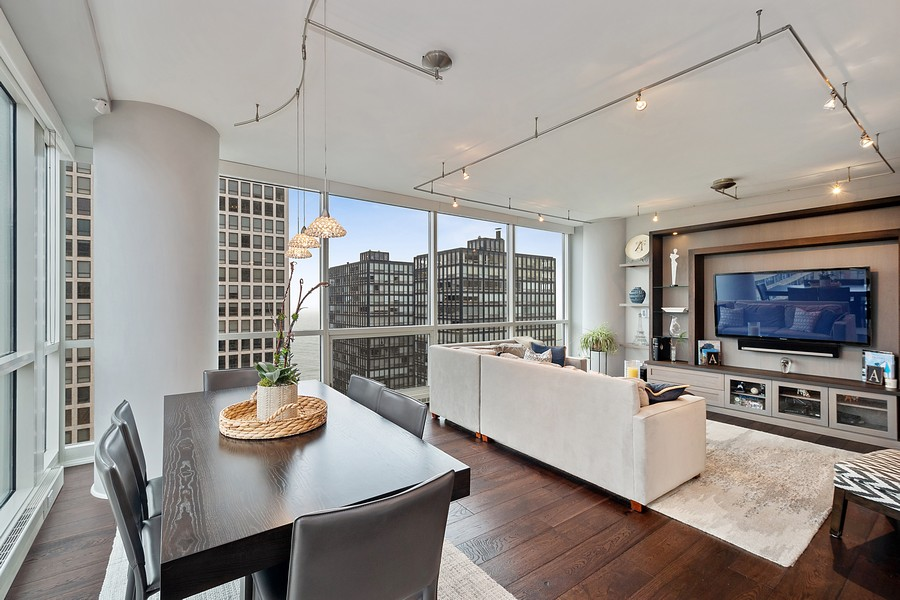 Real Estate Photography - 250 East Pearson St, 2302, Chicago, IL, 60611 - Dining/Living Room
