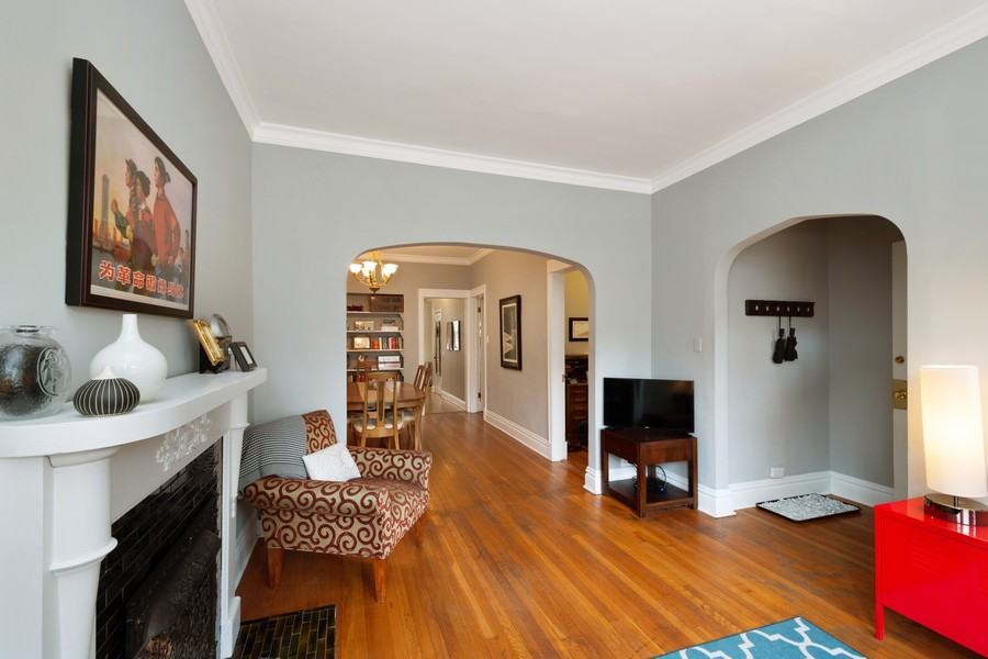 Real Estate Photography - 2630 North Troy St, Chicago, IL, 60647 - 1st Floor Living Room to Dining Room