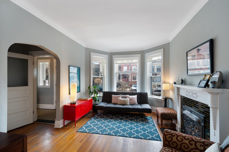 Real Estate Photography - 2630 North Troy St, Chicago, IL, 60647 - 1st Floor Living Room and Vestibule