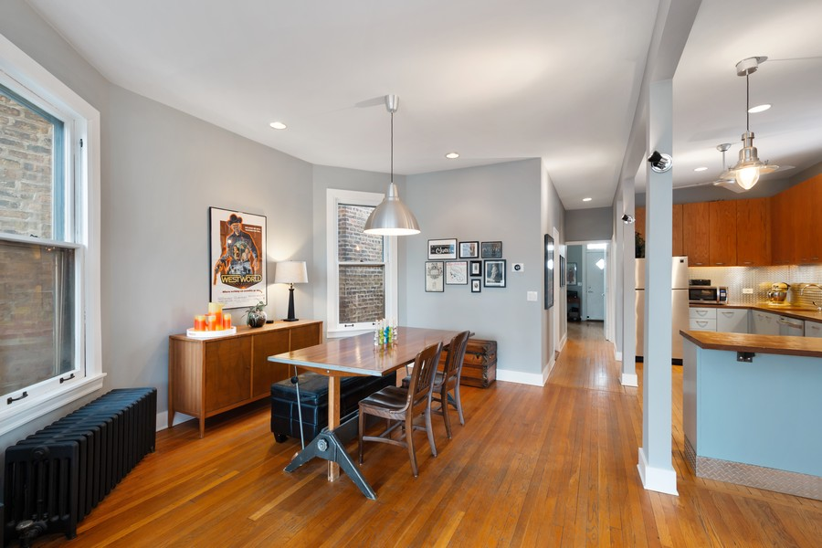 Real Estate Photography - 2630 North Troy St, Chicago, IL, 60647 - 2nd Floor Kitchen and Dining Room 2630 N Troy