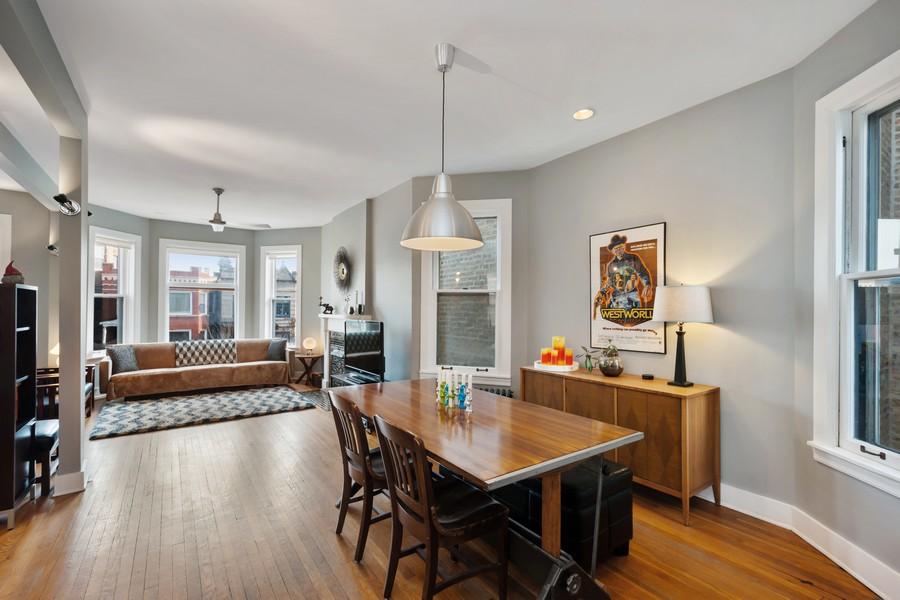Real Estate Photography - 2630 North Troy St, Chicago, IL, 60647 - 2nd Floor Dining Room to LIving Room 2630 N Troy