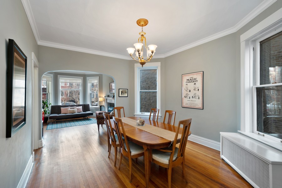 Real Estate Photography - 2630 North Troy St, Chicago, IL, 60647 - 1st Floor Dining Room to Living Room 2630 N Troy