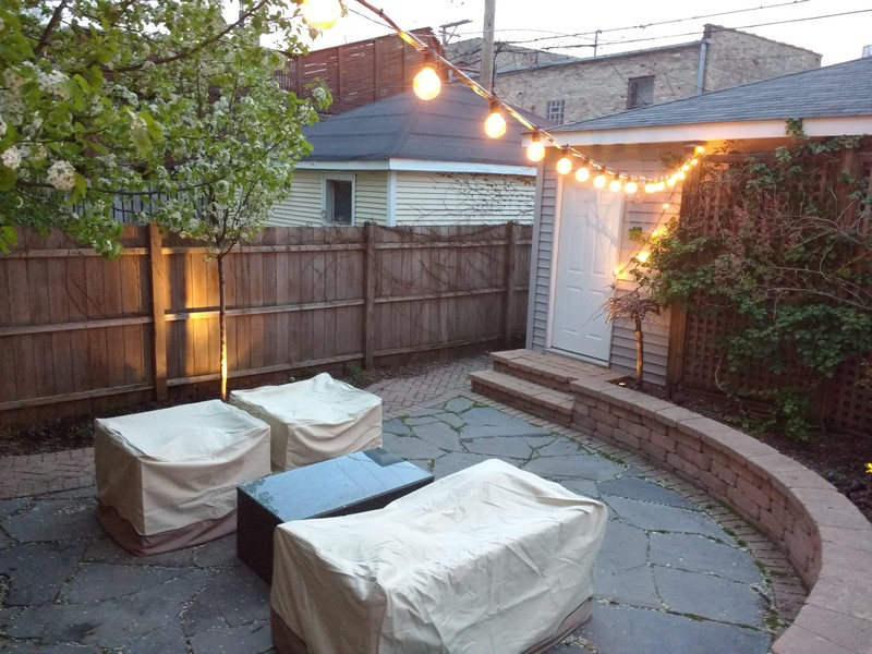 Real Estate Photography - 2630 North Troy St, Chicago, IL, 60647 - Back Patio 2630 Troy at Dusk