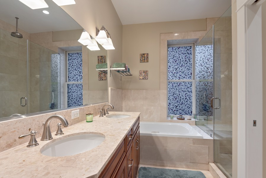 Real Estate Photography - 1112 Church St, 1, Evanston, IL, 60201 - Master Bathroom