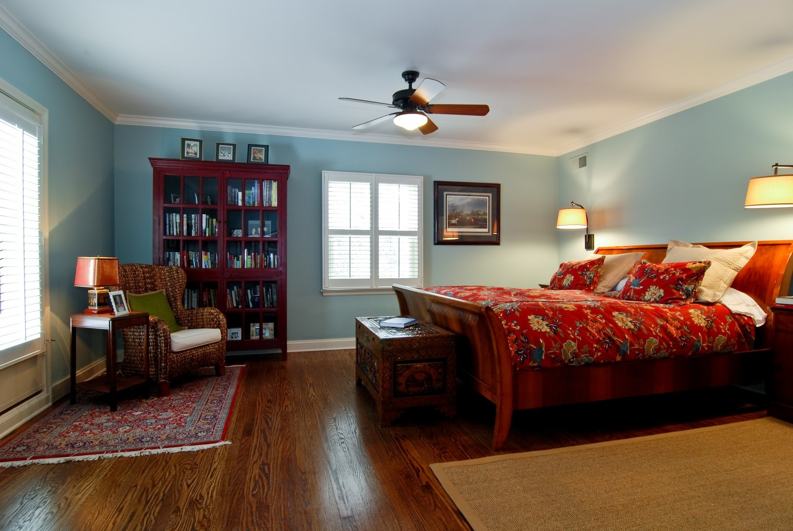 Real Estate Photography - 1532 Butterfield Road, Flossmoor, IL, 60422 - Master bedroom with hardwood flooring and custom w