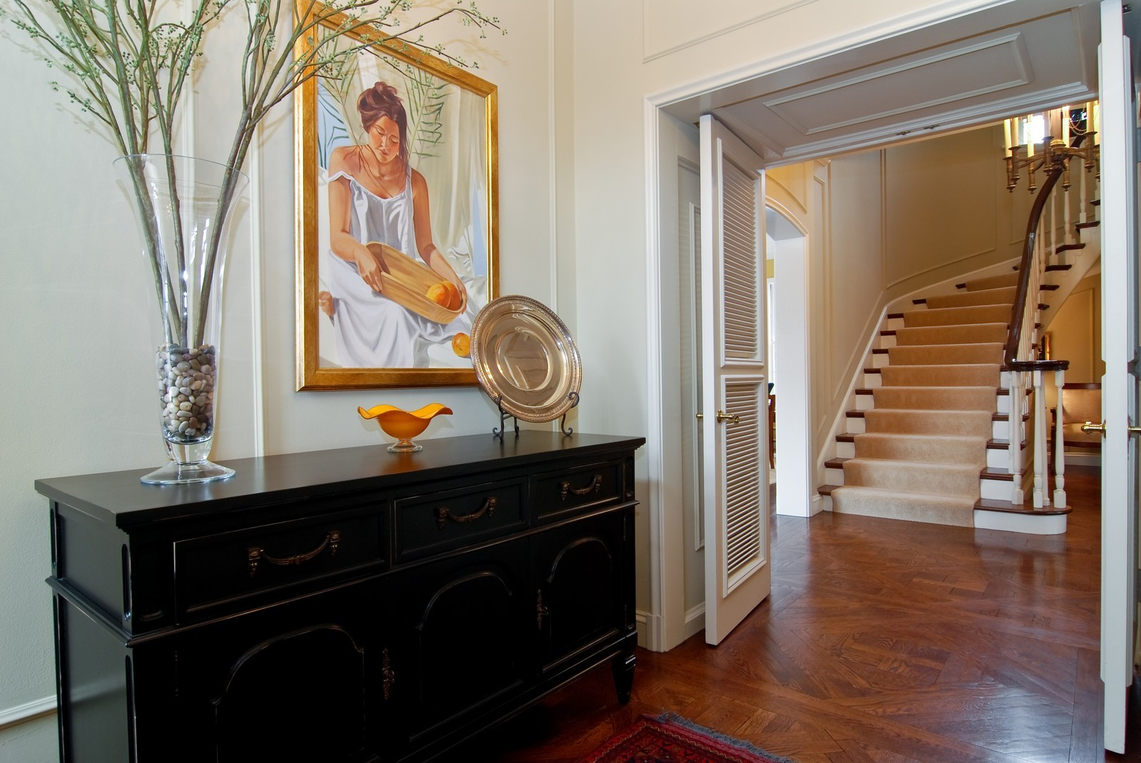 Real Estate Photography - 1532 Butterfield Road, Flossmoor, IL, 60422 - Elegant foyer with handsome powder room .