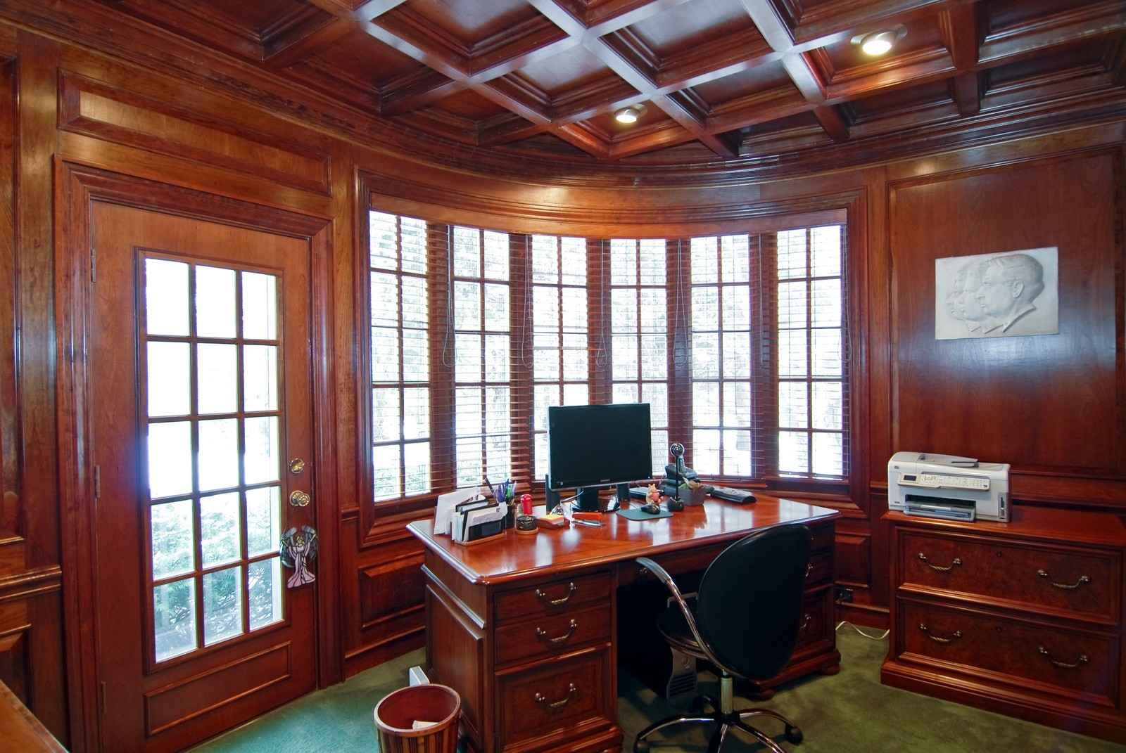 Real Estate Photography - 1532 Butterfield Road, Flossmoor, IL, 60422 - Cozy library with coffered ceiling , bowed wall of