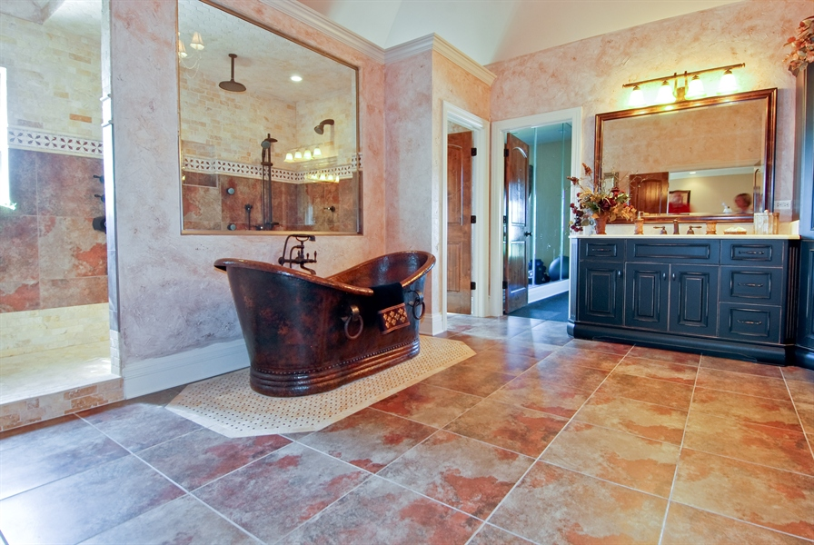 Real Estate Photography - 4508 Corktree, Naperville, IL, 60564 - Master Bath with Raised Double Vanity